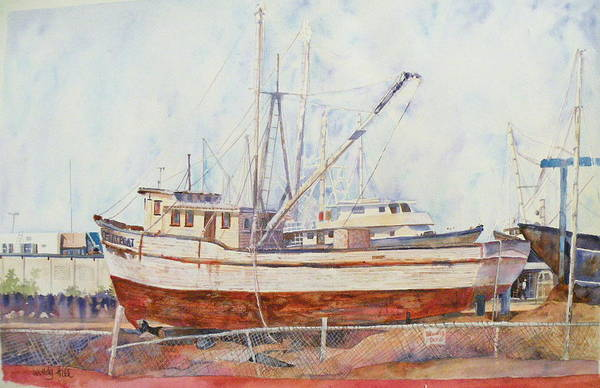 Boat Art Print featuring the painting Oceansport by Wendy Hill