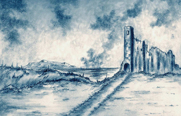 Castle Art Print featuring the drawing Old Castle Ruins by Michael Vigliotti