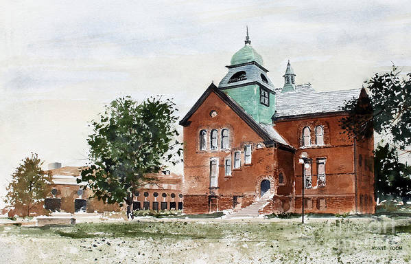 Old Central On The Oklahoma State University Campus. Art Print featuring the painting Oklahoma State University Old Central by Monte Toon