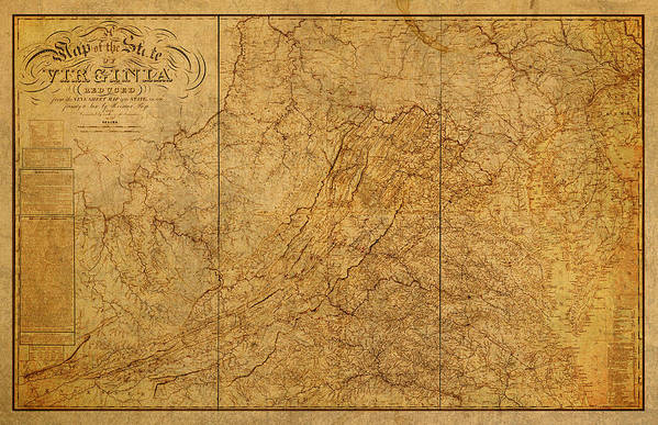 Old Map Of Virginia State Schematic Circa 1859 On Worn Distressed