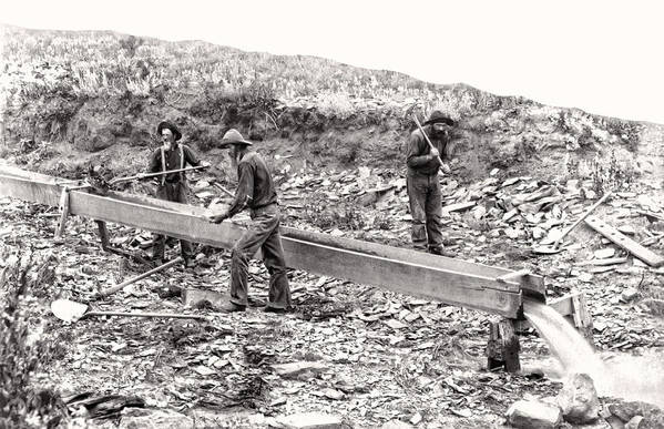 Gold Art Print featuring the photograph Placer Gold Mining C. 1889 by Daniel Hagerman