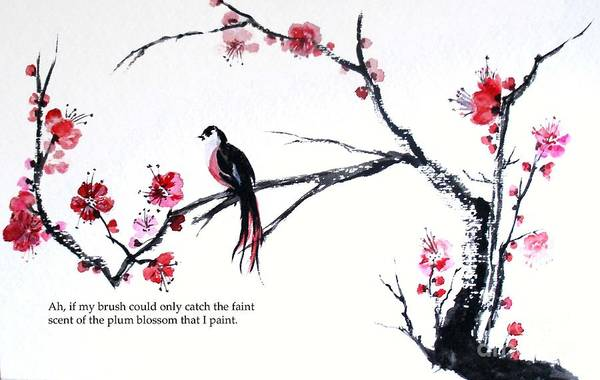 Art Print featuring the painting Plum Blossom Bird  by Sibby S