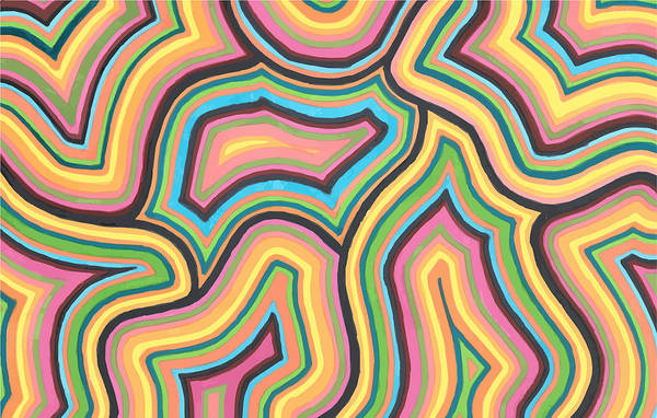 Abstract Pattern Art Print featuring the drawing Pure Energy by Jill Lenzmeier