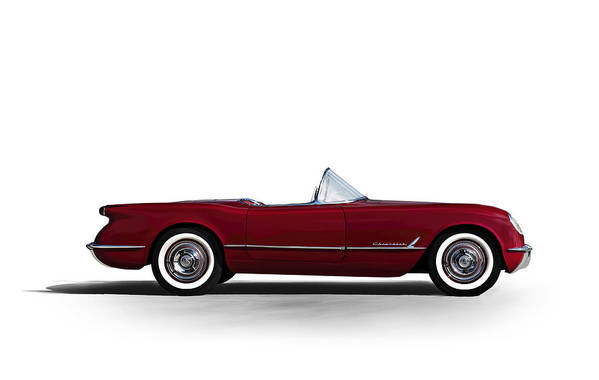 Vintage Art Print featuring the digital art Red C1 Convertible by Douglas Pittman