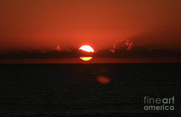 Sunset Art Print featuring the photograph Red Sunset Over The Atlantic by Nadine Rippelmeyer