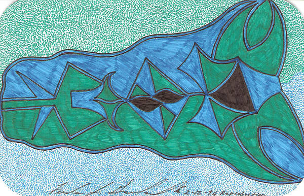 Abstract Art Print featuring the drawing Reproduction by Freda Garland