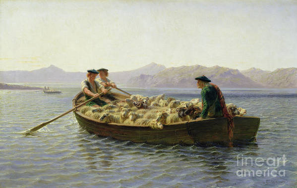 Rowing-boat Print featuring the painting Rowing Boat by Rosa Bonheur