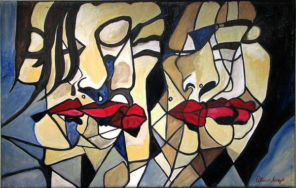 Abstract Art Print featuring the painting She Had Red Lips by Patricia Arroyo