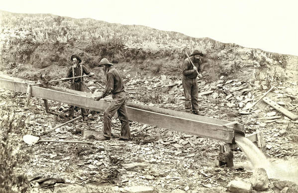 Gold Art Print featuring the photograph Sluice Box Placer Gold Mining C. 1889 by Daniel Hagerman