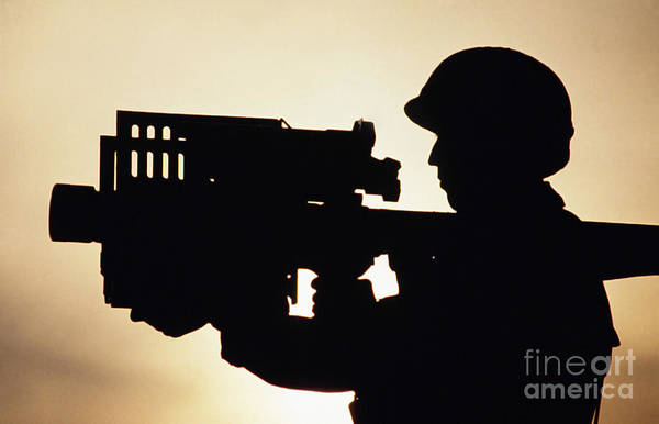 Horizontal Print featuring the photograph Soldier Holds A Stinger Anti-aircraft by Stocktrek Images