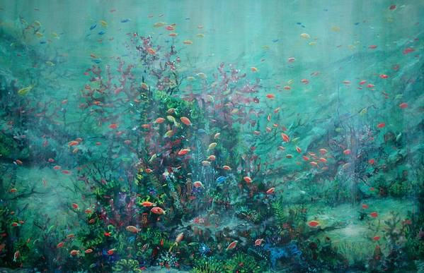 Unaderwater Paintings Art Print featuring the painting Spring Underwater  by Ana Bikic