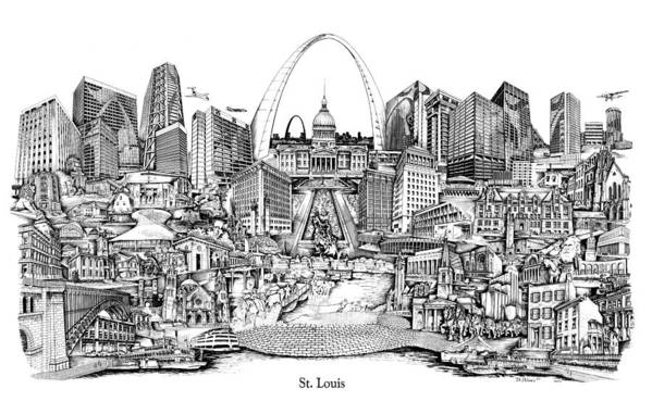 City Drawing Art Print featuring the drawing St. Louis 4 by Dennis Bivens