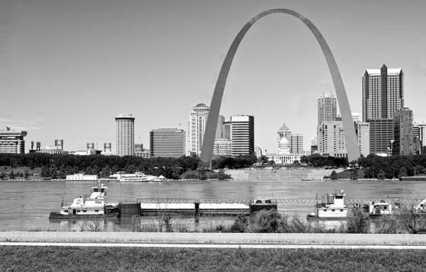 St Louis Art Print featuring the photograph St Louis City Scape In Black And White by Ginger Wakem