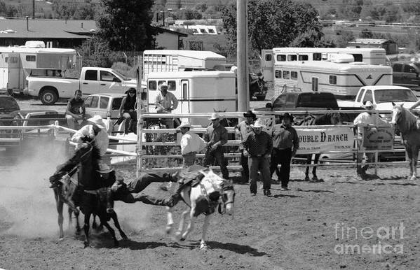 Rodeo Art Print featuring the photograph Steer Wrestling by Susan Chandler