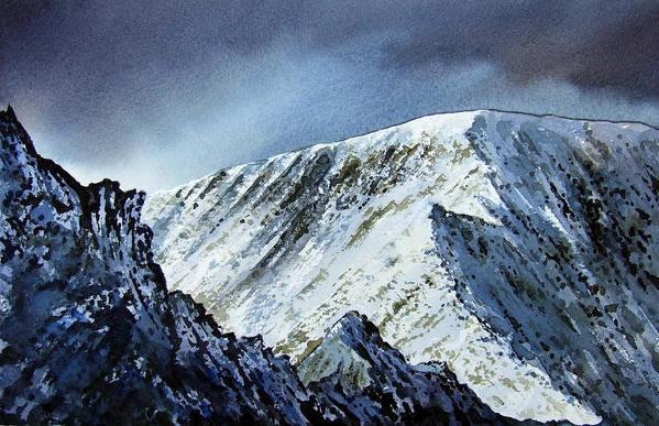 Mountain Art Print featuring the painting Striding Edge On Helvellin by Paul Dene Marlor