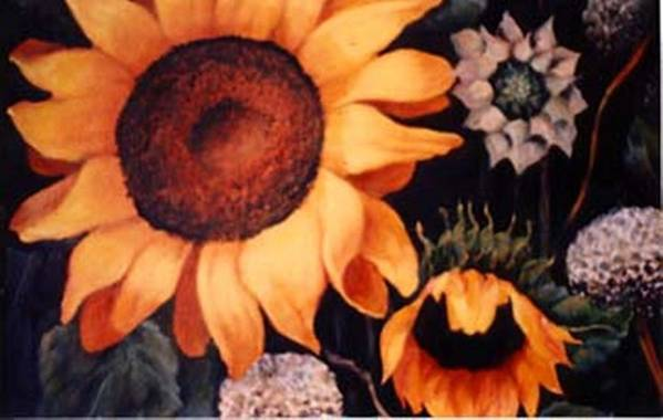 Sunflowers Paintings Art Print featuring the painting Sunflowers And More Sunflowers by Jordana Sands