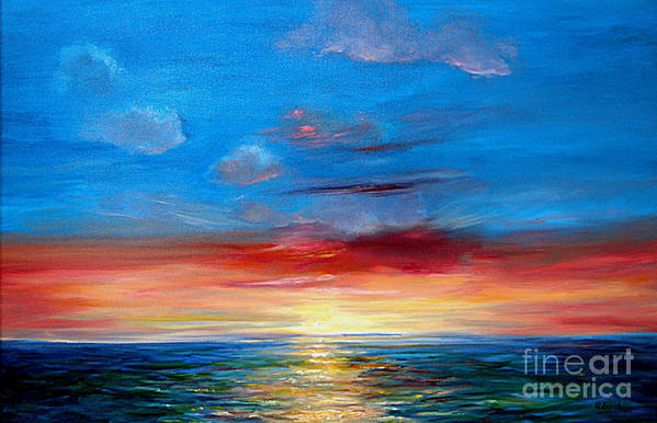 Seasca[e.ainting Art Print featuring the painting Sunset In Florida Key West. by Jeannette Ulrich