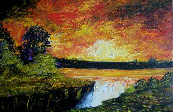 Sunset Art Print featuring the painting Sunset Over The Lake by Tami Booher