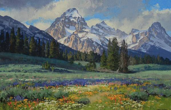 Landscape Art Print featuring the painting Teton Splendor by Lanny Grant