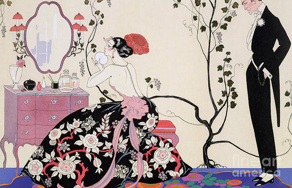 The Backless Dress Art Print featuring the drawing The Backless Dress by Georges Barbier