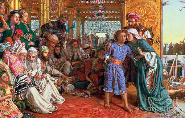 Pre-raphaelite; Passover; Jewish; Elders; Jews; Jesus Christ; Boy; Child; Old Men; Elderly; Elder; And The Lord Print featuring the painting The Finding Of The Savior In The Temple by William Holman Hunt