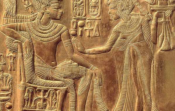 Detail Art Print featuring the relief The Golden Shrine Of Tutankhamun by Egyptian Dynasty