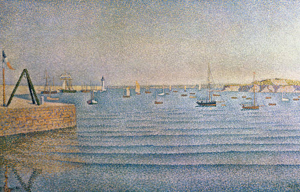 The Harbour At Portrieux Art Print featuring the painting The Harbour At Portrieux by Paul Signac