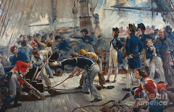 The Hero Of Trafalgar (colour Litho) Print featuring the painting The Hero Of Trafalgar by William Heysham Overend