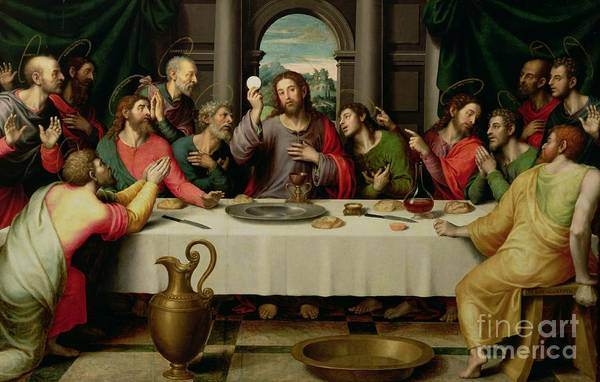 The Last Supper (oil On Panel) By Vicente Juan Macip (juan De Juanes) (c.1510-79) Print featuring the painting The Last Supper by Vicente Juan Macip