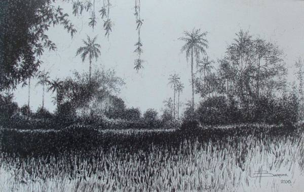 Landscape Art Print featuring the drawing The Out Cast Of Bufazone by Mohamed Bangura