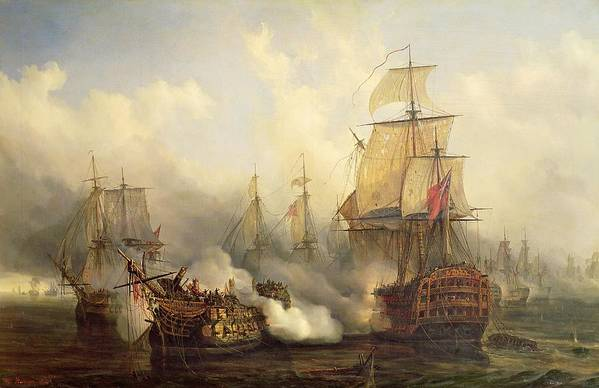 The Art Print featuring the painting The Redoutable At Trafalgar by Auguste Etienne Francois Mayer