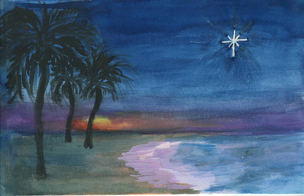 Palm Trees Art Print featuring the painting Tropical Christmas by Donna Walsh