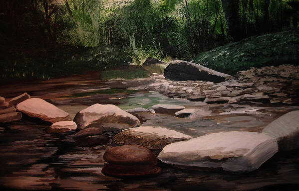 River Art Print featuring the painting Up Stream by Martin Williams