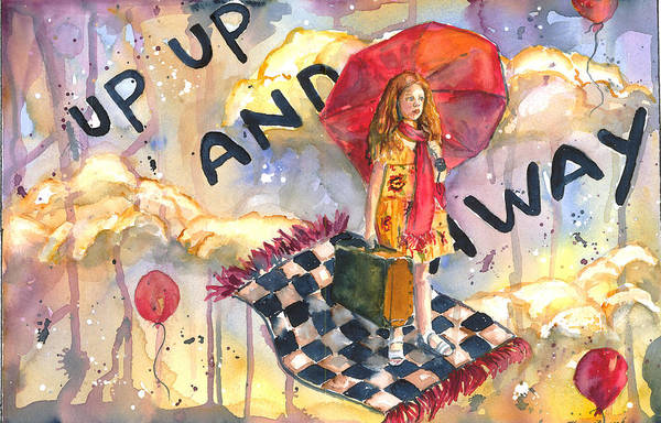Watercolor Art Print featuring the painting Up Up And Away by P Maure Bausch