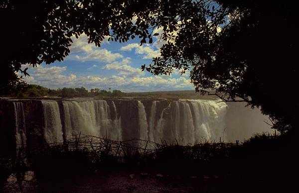 Victoria Fall Zimbabwe Artwork In Full Flow As The Zimbabwean Side Of Zambezi River Southern Africa With A Vic Is World Falling Water And Form Natural Border Between Zambia Spray Be For So Area To Wonder Smoke Thunder Explore Majestic Honour British Queen On Unesco Heritage List Un Rise Tourist National Park Near Zambian Guest At Elephant Hill Hotel Or Photo By Michel Guntern Travelnotes Travel Er Pics Travelpics Waterfall Blue Sky Cloud Landscape Site Nature Tree Branch African Bush Framed Leaf Art Print featuring the photograph Victoria Falls, Zimbabwe by Travel Pics