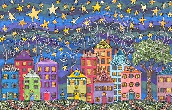 Village Art Print featuring the drawing Village Lights by Pamela Schiermeyer