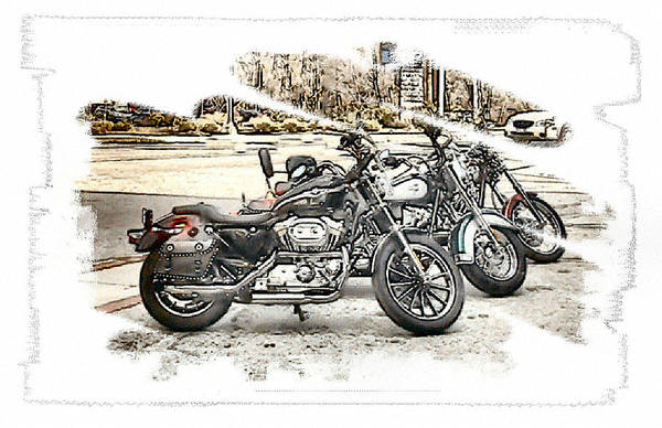 Motorcycles Art Print featuring the photograph Waiting by Rose Guay