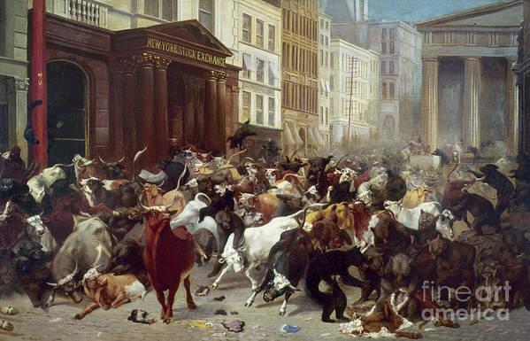 1879 Art Print featuring the photograph Wall Street: Bears & Bulls by Granger