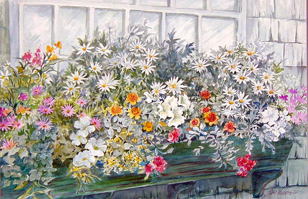 Floral;daisies;pastels; Art Print featuring the painting Window Box In The Sun by Lois Mountz