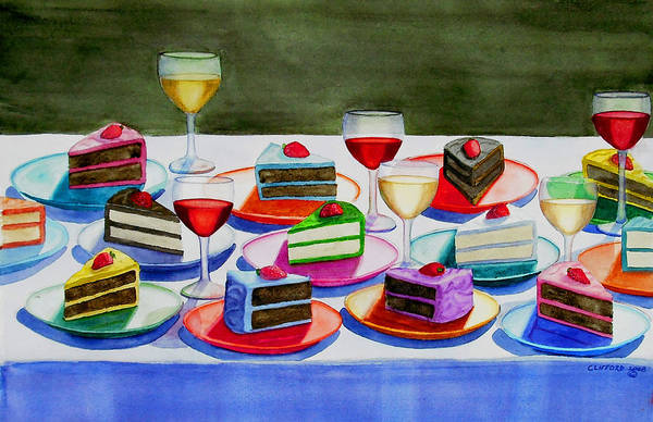Cake Art Print featuring the painting Wine And Cake by Cory Clifford