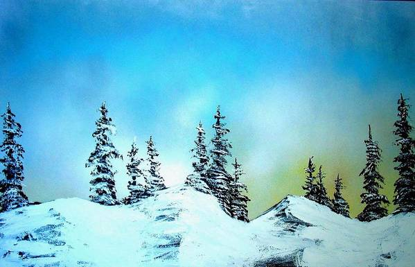 Landscape Art Print featuring the painting Winter At Lake Tahoe In California by Ed Moore