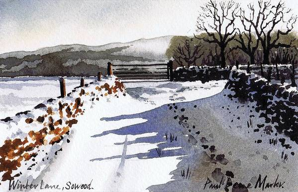 Snow Scene Art Print featuring the painting Winter Lane Sowood by Paul Dene Marlor