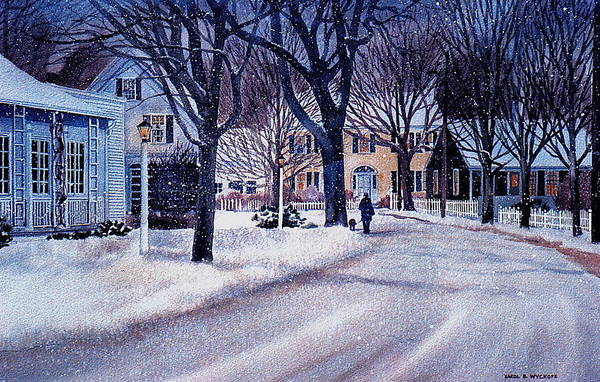 Winter Art Print featuring the painting Winter Stroll by Karol Wyckoff