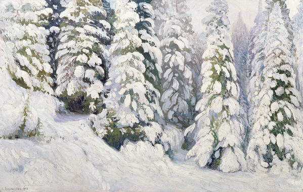 Winter Print featuring the painting Winter Tale by Aleksandr Alekseevich Borisov