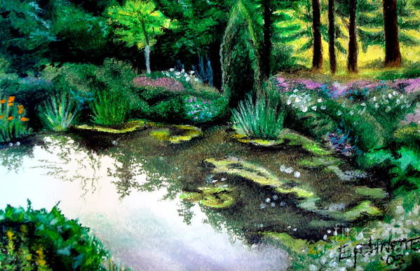 Landscape Art Print featuring the pastel Woodland Mystery by Elizabeth Robinette Tyndall