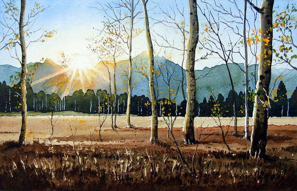 Landscape Art Print featuring the painting Woodland Sunset by Paul Dene Marlor