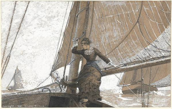 Yachting Girl Art Print featuring the painting Yachting Girl by Celestial Images
