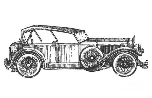 Trip Art Print featuring the digital art Retro Car Vector Logo Design Template by Ava Bitter