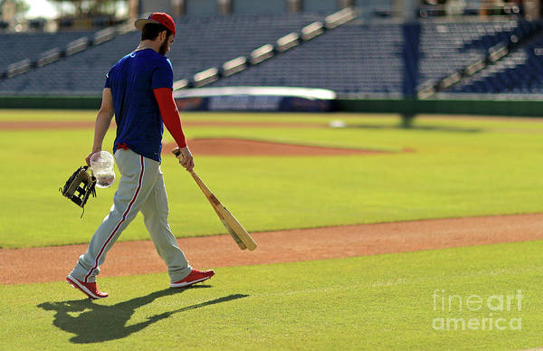 Working Art Print featuring the photograph Philadelphia Phillies Bryce Harper 2 by Mike Ehrmann