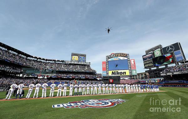 American League Baseball Art Print featuring the photograph Atlanta Braves V New York Mets by Elsa